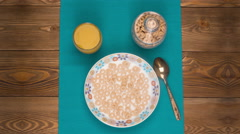 Breakfast  - cereal, milk, juice Stock Footage