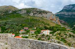 View of mountains near Bar from fortress walls, Montenegro - stock photo