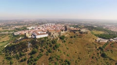 Castelo de Palmela with town on background aerial view Stock Footage