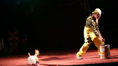 Glybokaya, Ukraine- 2016. Circus clown show with rubber chicken - stock footage