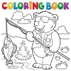 Coloring book bear fisherman theme - eps10 vector illustration. Stock Illustration