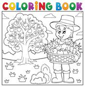 Coloring book farmer with harvest - eps10 vector illustration. - stock illustration