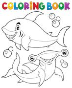 Coloring book with two sharks - eps10 vector illustration. - stock illustration