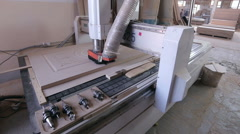 Automated CNC Wood Carving Machine operates with wood Stock Footage