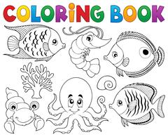 Coloring book marine life theme - eps10 vector illustration. - stock illustration