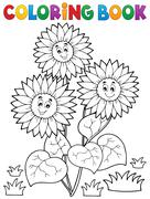 Coloring book with happy sunflowers - eps10 vector illustration. - stock illustration