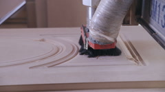 Automated CNC Wood Carving Machine operates with wood. Door production Stock Footage