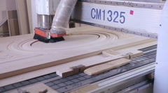 Automated CNC Wood Carving Machine operates with wood. Door production - stock footage
