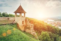 Fortification wall in castle Trenchin, Slovak Republic - stock photo
