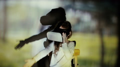 Little girl using augmented reality headset Stock Footage