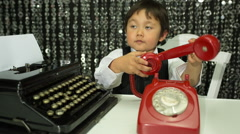 Boy telephone talk child business Stock Footage