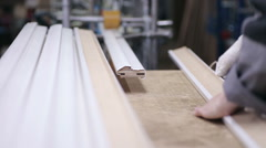 Woodworking mechanism. Wooden goods production automated line - stock footage