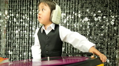 Dj boy kid child party music Stock Footage
