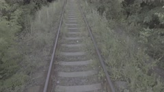 Flight over railways close to the ground Stock Footage