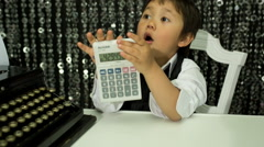 Boy kid child numbers maths accountant Stock Footage