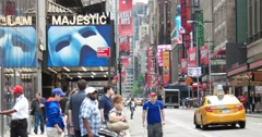 New York City Broadway Theater and Car Pedestrian Traffic 4K Stock Video - stock footage