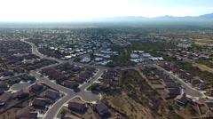 Drone aerial shot over suburban neighborhoods Stock Footage