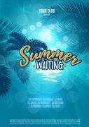 Summer is waiting you. Party poster with palm leaf and lettering. Vector - stock illustration