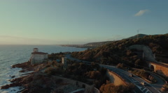 Aerial Shot of Highway Along Coastline in Rural Area in Southern Europe Stock Footage