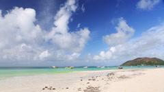 Tropical beach panorama, Seychelles - stock footage