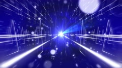 Seamless abstract animation of zooming blue space fantasy path with light beam - stock footage