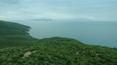 Beautiful Aerial Landscape of Coastal Forest, Lagoon and Sea in Southern Europe. Stock Footage