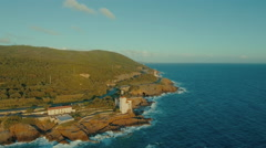 Aerial Shot of Coastline in Southern Europe. Weather is Sunny and Clear.  Stock Footage