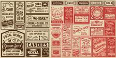 Mega pack old advertisement designs and labels - Vector illustration Stock Illustration