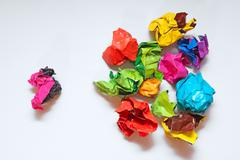 Crumpled paper folded in the hierarchy Stock Photos