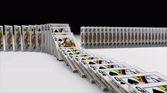 3D animation of Playing cards falling down and effect another one like a domino - stock footage