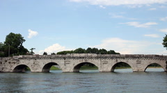 Famous Tiberius bridge Rimini Stock Footage