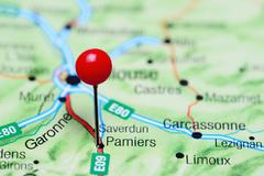 Pamiers pinned on a map of France Stock Photos