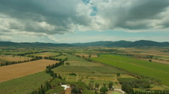 Aerial Shot of Impressive Large Scale Agricultural Fields in Southern Europe - stock footage