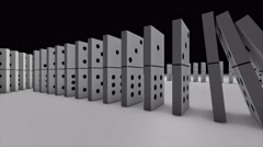 3D animation of dominoes falling and effect another like domino into word lucky Stock Footage