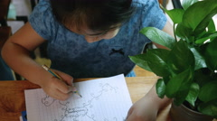 4K : Top view of Little Asian child drawing her mind map, Pan shot Stock Footage