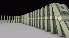 3D animation US dollar banknotes falling effect like a domino in lucky concept Stock Footage