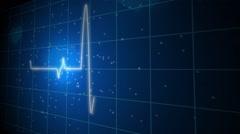 Seamless loop blue background EKG electrocardiogram pulse real waveform Stock Footage