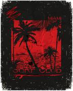Miami - vector illustration concept in vintage graphic style for t-shirt and Stock Illustration