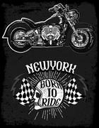Motorcycle tee graphic Stock Illustration
