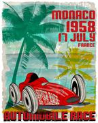 Vintage race car for printing.vector old school race poster.retro race Stock Illustration