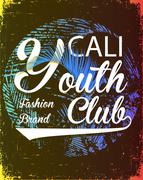 California youth club vector illustration concept in vintage graphic style fo - stock illustration