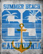 Vector illustration on the theme of California. Typography, t-shirt graphics, - stock illustration