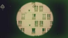 Vintage Telescope Voyeur Nighboors Spy, Pov Stock Footage