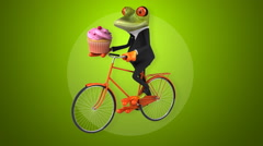 Fun frog on a bicycle - Digital animation Stock Footage