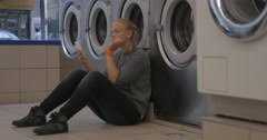 Mother and child in the laundry Stock Footage