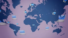 Computer background - world moving from right to left - vector animation - bl - stock footage