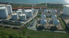 Aerial shot of Storage Silo near Habor. Blue Sea on Background. Stock Footage