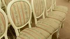 Bright chairs in the art Nouveau style Stock Footage