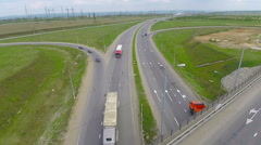 Cars on a road. Aerial View of Driving trucks, cars on a freeway Stock Footage