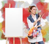 Woman artist with brushes, palette and copy space Stock Photos